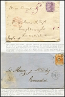 "Lot 11 [2 of 3]:British Commonwealth album of collector's miscellaneous items including Transvaal 1900 1d Postal Card from Germiston to Tilsit (Lithuania) taxed with 1d ERI added tied by FPO datestamp, South Africa 1916 stampless cover to Cape Town with 'PRISONER OF WAR' (boxed) & 'PASSED BY CENSOR' handstamps, Gibraltar 1860 outer to Granada with Spanish imperf 4c tied by Cartwheel '63' cancel, Sierra Leone 1876 cover to England ""Per S.S. Senegal"" with 6d lilac SG #4 tied by B31 cancel, Virgin Islands 1902 2½d Stationery Envelope from to St Thomas (DWI) cancelled with 'A91' canceller with fine Tortola 'JU14/02' datestamp; also GB 1d red imperf covers x3, 1864 outer to Gibraltar with 6d lilac SG #54 (Cat £225 on cover), plus Porto Rico 1861 & 1865 pre-stamp entires to New York, etc; interesting lot. (13 covers & few stamps)"