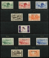 Lot 16 [3 of 3]:British New Hebrides 1911-1970s Collection mint or used with good degree of completion including 1911 Weapons & Idols used (½d & 1d mint), 1920 Surcharges mint, 1938 Gold Currency mint (Cat £325) plus Postage Due set (MUH, Cat £190) 1977 'Paris' Surcharge set MUH x2, etc; condition variable but mostly fine, Cat £1,000 approx.