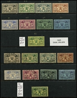 Lot 16 [1 of 3]:British New Hebrides 1911-1970s Collection mint or used with good degree of completion including 1911 Weapons & Idols used (½d & 1d mint), 1920 Surcharges mint, 1938 Gold Currency mint (Cat £325) plus Postage Due set (MUH, Cat £190) 1977 'Paris' Surcharge set MUH x2, etc; condition variable but mostly fine, Cat £1,000 approx.