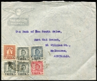 Lot 25 [2 of 9]:Cover Array interesting group with Pitcairns 1940 KGVI original set of 8 on registered cover to USA, Jamaica 1967 York Pen & Penwood temporary rubber datestamps on cover, South Africa 1957 (?) to Northern Rhodesia with overprinted 2d due added, Thailand 1963 Khonkaen registered cover to USA, 1950s Iceland airmail covers to Queensland x5, others from Bahrain, Indonesia, Iraq, etc. (18)