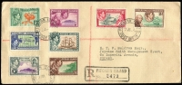 Lot 25 [3 of 9]:Cover Array interesting group with Pitcairns 1940 KGVI original set of 8 on registered cover to USA, Jamaica 1967 York Pen & Penwood temporary rubber datestamps on cover, South Africa 1957 (?) to Northern Rhodesia with overprinted 2d due added, Thailand 1963 Khonkaen registered cover to USA, 1950s Iceland airmail covers to Queensland x5, others from Bahrain, Indonesia, Iraq, etc. (18)