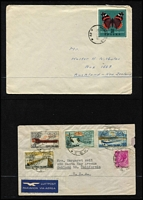 Lot 26 [2 of 4]:Cover Array in Two Volumes mostly 1940s-70s era with mix of philatelic and commercial mail (mostly to USA) including Thailand 1956 registered to USA, Grenada 1965 to USA, Italy 1956 Winter Olympics set on cover to USA, Laos 1960 US Mission cover to California, also some PPCs & stationery items. Interesting mix of material. (120+)