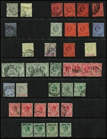 Lot 42 [2 of 3]:Gibraltar 1886-1933 QV-KGV Selection on Hagners mint and/or used including 1886-87 2d mint, 1889-96 Spanish Currency 2p used & 5p mint, KEVII 1903 Crown CA ½d, 1d x2 & 2½d mint, KGV with 1921-27 Script CA 2½d, 1/- & 4/- used, 1925-32 1/- to 5/- used (2/6d on piece), etc; condition variable, many are fine; described items alone, Cat £500+. (120)