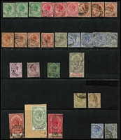 Lot 42 [3 of 3]:Gibraltar 1886-1933 QV-KGV Selection on Hagners mint and/or used including 1886-87 2d mint, 1889-96 Spanish Currency 2p used & 5p mint, KEVII 1903 Crown CA ½d, 1d x2 & 2½d mint, KGV with 1921-27 Script CA 2½d, 1/- & 4/- used, 1925-32 1/- to 5/- used (2/6d on piece), etc; condition variable, many are fine; described items alone, Cat £500+. (120)