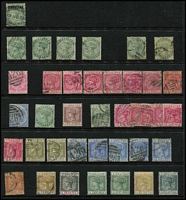 Lot 42 [1 of 3]:Gibraltar 1886-1933 QV-KGV Selection on Hagners mint and/or used including 1886-87 2d mint, 1889-96 Spanish Currency 2p used & 5p mint, KEVII 1903 Crown CA ½d, 1d x2 & 2½d mint, KGV with 1921-27 Script CA 2½d, 1/- & 4/- used, 1925-32 1/- to 5/- used (2/6d on piece), etc; condition variable, many are fine; described items alone, Cat £500+. (120)