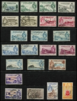 Lot 43 [2 of 5]:Gibraltar 1938-60s Selection with KGVI to 2/- x5, 5/- x2, 10/- x3 & £1 x2, QEII 1953-59 Pictorial set (Cat £120), 1960-62 2/- to £1, some duplication (including better values), generally fine.
