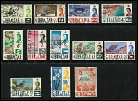 Lot 43 [3 of 5]:Gibraltar 1938-60s Selection with KGVI to 2/- x5, 5/- x2, 10/- x3 & £1 x2, QEII 1953-59 Pictorial set (Cat £120), 1960-62 2/- to £1, some duplication (including better values), generally fine.
