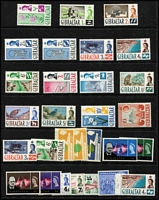 Lot 44 [2 of 3]:Gibraltar 1938-80s Mint Array with KGVI to 1/- x2 plus 5/- x2, 10/- & £1 with a few changes of perf & shades, QEII 1960-62 Pictorials to £1 MUH, 1967 Ships MUH, 1971 Pictorials in pairs MUH, 1977-82 Flora & Fauna to £5 (x2) MUH, etc.