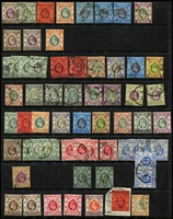 Lot 40 [2 of 4]:Hong Kong 1863-1990s Collection on Hagners mostly used with QV Crown CC 10c on 12c SG #25, also postage dues, 'CHINA' overprints on KGV issues to 50c x3 & $1 x2, KEVII 1904-06 MCA mint 2c to 50c (some gum tones) & 1907-11 Change of Colours 6c mint & 10c blue pair with 'HAIPHONG/TONKIN' datestamp, KGV mint to 30c x2 & 50c x3 plus Script CA $3 & $5 used, 1935 3c & 5c Jubilee on FDC with cachet, 1938-52 KGVI Heads to $10 green & violet (Cat £140), 1941 Centenary set mint & used, QEII 1954-62 to $10, etc; condition variable, but mostly fine. (Few 100s)