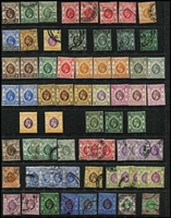 Lot 40 [3 of 4]:Hong Kong 1863-1990s Collection on Hagners mostly used with QV Crown CC 10c on 12c SG #25, also postage dues, 'CHINA' overprints on KGV issues to 50c x3 & $1 x2, KEVII 1904-06 MCA mint 2c to 50c (some gum tones) & 1907-11 Change of Colours 6c mint & 10c blue pair with 'HAIPHONG/TONKIN' datestamp, KGV mint to 30c x2 & 50c x3 plus Script CA $3 & $5 used, 1935 3c & 5c Jubilee on FDC with cachet, 1938-52 KGVI Heads to $10 green & violet (Cat £140), 1941 Centenary set mint & used, QEII 1954-62 to $10, etc; condition variable, but mostly fine. (Few 100s)