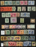 Lot 40 [1 of 4]:Hong Kong 1863-1990s Collection on Hagners mostly used with QV Crown CC 10c on 12c SG #25, also postage dues, 'CHINA' overprints on KGV issues to 50c x3 & $1 x2, KEVII 1904-06 MCA mint 2c to 50c (some gum tones) & 1907-11 Change of Colours 6c mint & 10c blue pair with 'HAIPHONG/TONKIN' datestamp, KGV mint to 30c x2 & 50c x3 plus Script CA $3 & $5 used, 1935 3c & 5c Jubilee on FDC with cachet, 1938-52 KGVI Heads to $10 green & violet (Cat £140), 1941 Centenary set mint & used, QEII 1954-62 to $10, etc; condition variable, but mostly fine. (Few 100s)