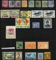 Lot 64 [6 of 6]:Malaya & States and Malaysia haphazardly presented array on Hagners with, Federated Malay States opt on Perak $2, additionally optd 'SPECIMEN' (surface fault), Straits Settlements QV issues to 24c, KEVII $2 x5, and KGV $5 x2 fiscally used, Malaysia to $10, plus few Sarawak & Thailand; also covers including 1949 & 1950 Teluk Anson registered; condition is extremely mixed (approx 150 plus 11 covers).
