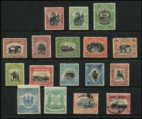 Lot 59:North Borneo 1890-1920s mostly mint selection with 1897 4c black & green and black & carmine Orang-Utan, 1909-23 1c to 16c Pictorials including 3d green & black, 1911 25c Arms, plus a couple of imperfs of uncertain status unused, and two used items, generally fine, Cat £280+. (17)