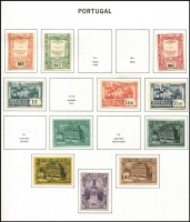 Lot 66 [1 of 2]:Portugal 1860s-1986 Collection in three Davo albums with slipcases, fragmented array with some better items including 1949 Portraits (ex 30c) & UPU (2E50c is used) sets mint, otherwise mostly broken sets & odd values, 1987-95 pages in Volume II no stamps and the Volume III 1996-2005 album is empty. Albums alone are worth the estimate. (100s)