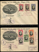 Lot 47 [1 of 5]:Tonga 1930s-40s extensive Tin Can Mail Collection in Ringbinder with [1] Outward covers x80+ mostly addressed to New Zealand, one registered to Ireland, good range of single and multiple frankings plus the usual plethora of cachets; also [2] Inward Covers x70+ all addressed to Quensell mostly from Australia (one 1935 registered from Canberra), New Zealand, GB or USA plus others from Canada & Fiji, approx 15% are censored; some condition issues, mostly fine. These covers generally retail in $10 to $30+ bracket, so this lot represents great value at the estimate. (150+).