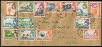 Lot 83 [1 of 3]:Tristan Da Cunha 1954-67 Array with 1954 QEII ½d to 10/- set on cover to South Africa, 1960 & 1961 short sets to 1/- or 10c MUH, 1965-67 Ships to 2/6d MUH. etc. (52 + 1 cover)