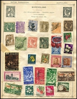 Lot 91 [2 of 3]:World Array in old-time albums, including coverless 'Strand' album with lots of stamps incl Australia & States, condition is mixed. (100s)