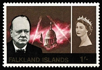 Lot 1341 [1 of 2]:1966 Churchill 1d & 1/- both Wmk inverted SG #224w & 225w, fresh MUH, Cat £105. (2)