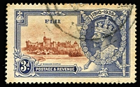 Lot 1343:1935 Silver Jubilee 3d brown & blue variety Diagonal line by turret [Pl.2A R10/1 &10/2] SG #244f, some toning, postmark clear of flaw, Cat £275.