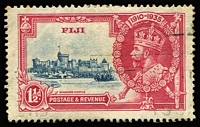 Lot 1342:1935 Silver Jubilee 1½d blue & carmine variety Diagonal line by turret [Pl.2A R10/1 &10/2] SG #242f, slogan postmark clear of flaw, Cat £150 (mint, unpriced used).