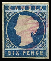 Lot 1345 [1 of 2]:1869-74 No Wmk 6d deep blue SG #3, negligible margins, 1874 Crown CC 6d blue SG #8, complete balanced margins, pen squiggle cancel, Cat £400. (2)
