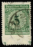 Lot 1289:1923 Numeral 5pf dark green Imperforate at base Mi #339aUu, used, expertised by Peschl BPP, unpriced by Michel.