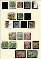 Lot 1561 [2 of 4]:Balance of Collection predominantly used in Kabe hingeless album with many better items remaining including POs in China 1898 56° Overprints set used, 1906-19 $1 on 2m mint & used plus $1½ on 3m & $2½ on 5m (corner marginal, MUH) mint; POs in Morocco 1906 2p50c used Mi #44 with German Philatelic Society Cert & Bothe handstamp; Levant 1905 No Wmk 10pa on 5pf to 15pi on 3m used (2½p on 50pf is mint); GEA 1893-96 3p of 5pf to 25p on 50pf used,1901 1r & 2r Yachts used, German SWA 1906 Yachts 1m used & 3m MUH; Carolines 1899-190 10pf & 20pf 48° Overprints used (both guarantee handstamps, Cat €320) & 1900 56° Overprints 3pf to 50pf (ex 25pf) 1910 10p bisect on piece with Ponape seal cancel; also GNG, Cameroun, Kiautschou, Marianas, Samoa, Togo, etc; some stamps used on piece, a number with guarantee handstamps. Generally fine. Cat €5,000+. (100s)