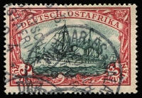 Lot 1942:1901 Kaiser's Yacht 3r dark red & greenish-black Mi #21b, Jaschke & Pfenninger guarantee handstamps, fine used, Cat €230.