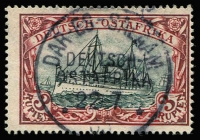 Lot 1569 [2 of 2]:1905-20 Kaiser's Yacht Wmk Lozenges 3r dark carmine-red & greenish-black with Buhler & Schroder guarantee handstamps and 3m dark red & greenish-black with Engel guarantee handstamp Mi #39I/Aa & 39I/Ab, fine used. Cat €800. (2)