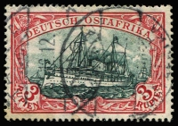 Lot 1569 [1 of 2]:1905-20 Kaiser's Yacht Wmk Lozenges 3r dark carmine-red & greenish-black with Buhler & Schroder guarantee handstamps and 3m dark red & greenish-black with Engel guarantee handstamp Mi #39I/Aa & 39I/Ab, fine used. Cat €800. (2)