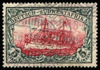 Lot 1356:1906-19 Kaiser's Yacht Wmk Lozenges 5m carmine & black Mi #32Aa, fine used, Jaschke guaranteee handstamp, Cat €370.