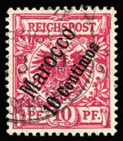 Lot 1331 [1 of 2]:1899 Diagonal Surcharges 3c on 3pf to 60c on 50pf Mi #1-6 set including scarce 10c on 10pf lilac-red Mi #3d, fine used, Cat €210. (6)