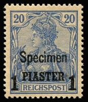Lot 1339 [1 of 2]:1900 Surcharges With 'Specimen' Overprints 10pa on 5pf to 1p on 20pf Mi #12IISP-14IISP, even toned gum, all with guarantee handstamps, MUH Cat €220. (3)
