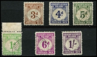 Lot 1566 [2 of 2]:1940 Postage Dues 1d to 1/6d set (ex 2d) SG #D1,D3-8, fine used, Cat £250. (7)