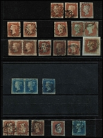 Lot 543 [2 of 2]:1841-44 Imperf Selection with 1841 Line Engraved imperforate 1d Red x21 comprising Numbered Maltese Cross cancels '1' (on pair), '2', '5' and '6', Unnumbered Maltese Cross cancels x4 (including on a pair), 1844 Numeral Cancels x9, includes strip of 3 with partial marginal inscriptions and a single cancelled in blue; 2d Blue White Lines Added x4, one with Numbered '1' Maltese Cross cancel, plus a pair & single with Numeral cancels; mostly fine four-margined examples, Cat £5,000 approx. (25)