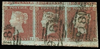 Lot 543 [1 of 2]:1841-44 Imperf Selection with 1841 Line Engraved imperforate 1d Red x21 comprising Numbered Maltese Cross cancels '1' (on pair), '2', '5' and '6', Unnumbered Maltese Cross cancels x4 (including on a pair), 1844 Numeral Cancels x9, includes strip of 3 with partial marginal inscriptions and a single cancelled in blue; 2d Blue White Lines Added x4, one with Numbered '1' Maltese Cross cancel, plus a pair & single with Numeral cancels; mostly fine four-margined examples, Cat £5,000 approx. (25)