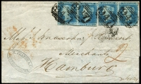 "Lot 1551 [2 of 12]:1840-1950 fantastic cover range comprising 1d black on entire to Manchester, 1841 1d red-brown entires x5 (one with four singles), 2d blue 'White Lines Added' three singles on 1843 cover Glasgow to Portugal, 1851 entire to Hamburg franked with 2d pairs x2 (lifted and replaced) tied by barred '947' of Hartepool; perforated 1d reds on 1856 cover with strip of 3, 1858 registered London to Macclesfield with pair (+ 6d lilac, SG #69) and on 1860 cover with single & 'MORE TO/S/PAY' handstamp; also 1871 3d rose plate 6 + 6d mauve plate 9 on London to Aden cover with red 'ADEN STEAMER POINT' arrival datestamp in red, 1872 3d rose plate 7 on cover from Belfast to New York, 1873 4d vermilion plate 13 tied by 'A25' (Malta) to Palermo, 1877 ½d Bantam uprating ½d wrapper to Stockholm, 1899 cover to St. Petersburg franked with ½d orange, tax markings and label applied, 1918 registered cover to Sweden franked with 2d, 2½d & 2/6d Seahorse with censor tape at right (rare on cover), 1934 (Feb) cover London to Brazil with 2d, 10d plus 2/6d Seahorse, cachet in red, 1936 to Argentine franked with 6d plus 2/6d & 5/- Seahorses, 1936 to Uruguay with 1/- x2 plus 10/- Seahorse, flight cachet below, 2/6d Seahorse and 1/- and 6d on 1936 official sealed cover to Australia, 1939-48 KGVI high values 2/6d green plus 3d on registered cover to NZ with black/pink Swiss Legation label at left, KGVI 2/6d brown and 1/- x2 on 1941 airmail cover to Brisbane, KGVI 10/- ultramarine and 5/- reds Arms plus 3d, 6d x2 and 1/- on airmail packet envelope to New York, 1945 Registered express envelope sent from Hankow to New Zealand franked with GB KGVI 1d red pair tied by framed 'EXPRESS/DOUBLE REGISTERED' handstamp in violet, endorsed ""British Fleet Mail"" at top, reverse with China $500 on 3c x3, $100 on 1c x2 and $50 on 5c tied by Shanghai datestamps, Sydney transit datestamp applied en route and 1954 'Prestwick' crash cover to Canada. (27 items)"