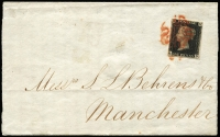 "Lot 579 [1 of 12]:1840-1950 fantastic cover range comprising 1d black on entire to Manchester, 1841 1d red-brown entires x5 (one with four singles), 2d blue 'White Lines Added' three singles on 1843 cover Glasgow to Portugal, 1851 entire to Hamburg franked with 2d pairs x2 (lifted and replaced) tied by barred '947' of Hartepool; perforated 1d reds on 1856 cover with strip of 3, 1858 registered London to Macclesfield with pair (+ 6d lilac, SG #69) and on 1860 cover with single & 'MORE TO/S/PAY' handstamp; also 1871 3d rose plate 6 + 6d mauve plate 9 on London to Aden cover with red 'ADEN STEAMER POINT' arrival datestamp in red, 1872 3d rose plate 7 on cover from Belfast to New York, 1873 4d vermilion plate 13 tied by 'A25' (Malta) to Palermo, 1877 ½d Bantam uprating ½d wrapper to Stockholm, 1899 cover to St. Petersburg franked with ½d orange, tax markings and label applied, 1918 registered cover to Sweden franked with 2d, 2½d & 2/6d Seahorse with censor tape at right (rare on cover), 1934 (Feb) cover London to Brazil with 2d, 10d plus 2/6d Seahorse, cachet in red, 1936 to Argentine franked with 6d plus 2/6d & 5/- Seahorses, 1936 to Uruguay with 1/- x2 plus 10/- Seahorse, flight cachet below, 2/6d Seahorse and 1/- and 6d on 1936 official sealed cover to Australia, 1939-48 KGVI high values 2/6d green plus 3d on registered cover to NZ with black/pink Swiss Legation label at left, KGVI 2/6d brown and 1/- x2 on 1941 airmail cover to Brisbane, KGVI 10/- ultramarine and 5/- reds Arms plus 3d, 6d x2 and 1/- on airmail packet envelope to New York, 1945 Registered express envelope sent from Hankow to New Zealand franked with GB KGVI 1d red pair tied by framed 'EXPRESS/DOUBLE REGISTERED' handstamp in violet, endorsed ""British Fleet Mail"" at top, reverse with China $500 on 3c x3, $100 on 1c x2 and $50 on 5c tied by Shanghai datestamps, Sydney transit datestamp applied en route and 1954 'Prestwick' crash cover to Canada. (27 items)"
