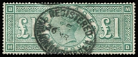 Lot 1349:1887-92 Wmk Three Crowns £1 green [BM,MB] SG #212, faintest of bends, fine used with Registered Threadneedle St oval datestamp, Cat £800.