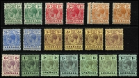 Lot 1556 [3 of 3]:1913-22 KGV MCA ½d to 10/- (x2) set SG #89-22, with all listed shades & back of stamp colours, plus unlisted shades of 2/-, 10/- SG 101 with Plate #1 tab, fine mint, Cat £250 approx. (26)