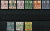 Lot 1557 [2 of 3]:1921-31 Script CA ½d to 10/- set SG #112-134, with Gibbons listed shades, fine mint with key 10/- MVLH, Cat £140+. (28)