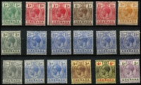 Lot 1557 [3 of 3]:1921-31 Script CA ½d to 10/- set SG #112-134, with Gibbons listed shades, fine mint with key 10/- MVLH, Cat £140+. (28)