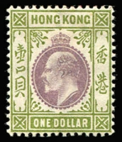 Lot 1561:1903 KEVII Wmk Crown CA $1 purple & sage-green SG #72, very fine MLH, Cat £130.