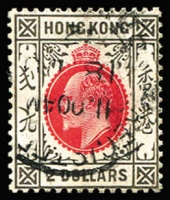 Lot 1562:1904-07 KEVII Wmk MCA $2 slate & scarlet chalk-surfaced paper SG #87a, fine used, Cat £140.