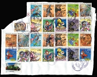 Lot 75 [1 of 3]:France 0.30kg on paper mostly colourful modern issues on parcel wrapping fronts. Thematically appealing.