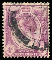 Lot 1584:1912-23 KGV Wmk MCA 4c dull purple Watermark inverted, minor colour diffusion, fine used with 1915 datestamp, Cat £550.