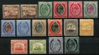 Lot 1354 [2 of 2]:1904-14 KEVII Wmk MCA ¼d to 5/- set SG #45-63 (ex 2d grey), couple of lower values with paper adhesions on gum, otherwise fine mint, key 5/- MUH, Cat £300. (18)