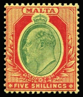 Lot 1354 [1 of 2]:1904-14 KEVII Wmk MCA ¼d to 5/- set SG #45-63 (ex 2d grey), couple of lower values with paper adhesions on gum, otherwise fine mint, key 5/- MUH, Cat £300. (18)
