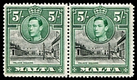 Lot 1357:1938-43 KGVI 5/- Palace Square pair, left-hand unit variety Semaphore flaw [R2/7] SG #230a, fine MLH, Cat £85.