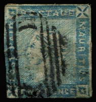 Lot 1591:1859 Lapirot 2d blue worn impression on bluish paper SG #39, margins largely complete, strong colour, void bars cancel, hinge remnant, Cat £900.